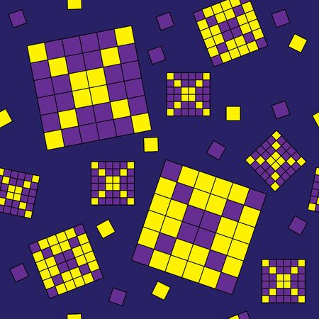 nebulosity: Seamless violet and yellow tile pattern Illustration