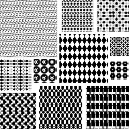 Seamless black and white retro patterns