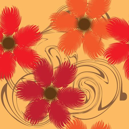 Seamlessly vector wallpaper with art red flowers Vector