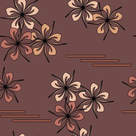 Seamless brown flower pattern Vector