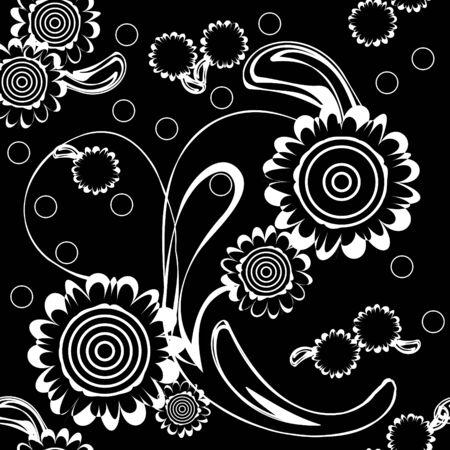 Seamlessly vector wallpaper with art white flower Stock Vector - 6442171