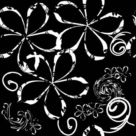 Seamlessly wallpaper with art white flower Stock Vector - 6673868