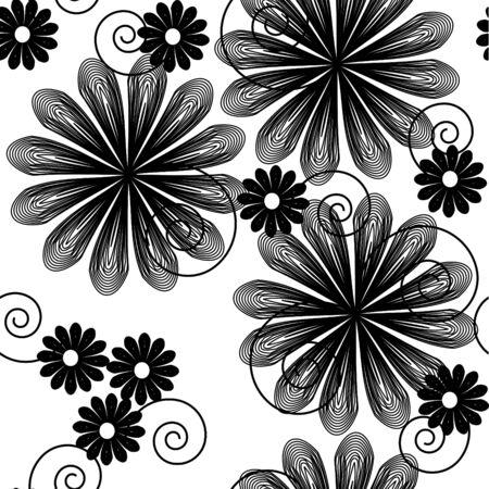 Seamlessly  wallpaper with art white flower Vector