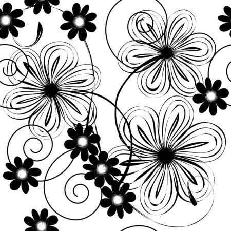 Seamlessly  wallpaper with art white flower Illustration