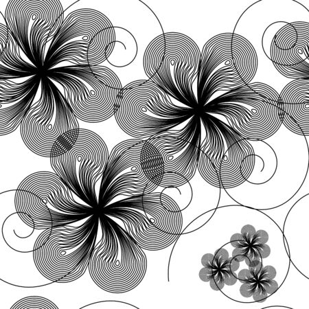 repeated: Seamlessly  wallpaper with art white flower Illustration