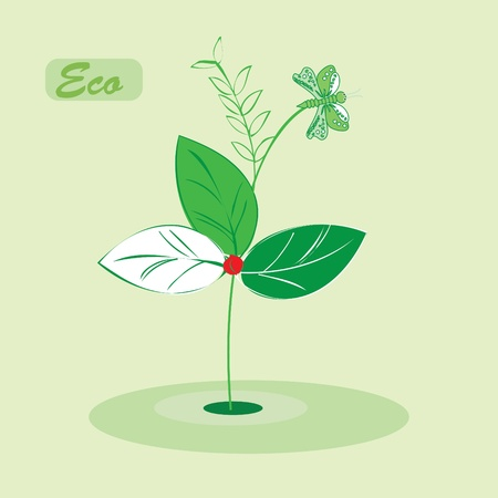 Environmental icon with eco plant Vector