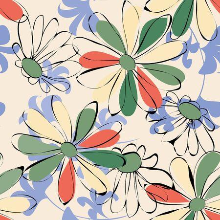 material flower: Flower seamless pattern Illustration