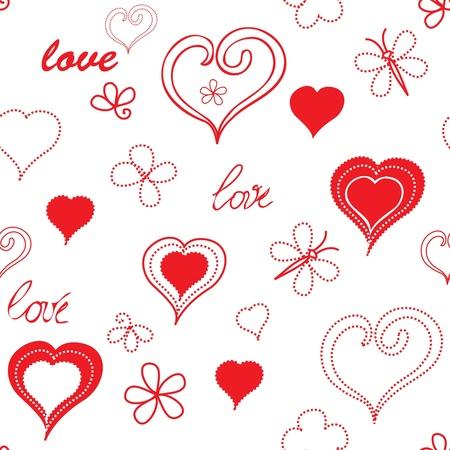 dearness: Heart end flower seamless pattern background