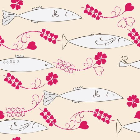 Abstract seamless background with fishes Vector