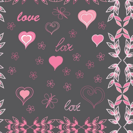 Heart end flower seamless pattern background