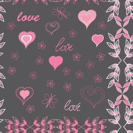 Herzen Ende Blume seamless Pattern Hintergrund Vektorgrafik