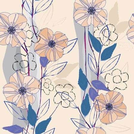 indigo: Abstract flower seamless pattern background