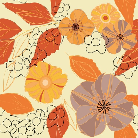 autumn fashion: Abstract flower seamless pattern background