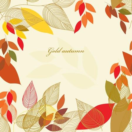 autumn fashion: Abstract autumn  leaf background. Banner. Illustration