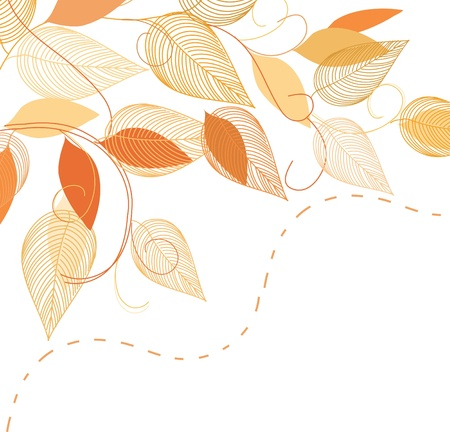 caress: Abstract autumn  foliage background. Banner. Illustration