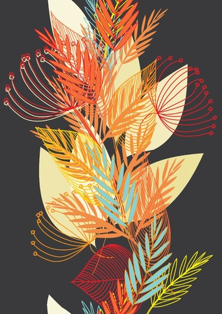 fabric painting: Abstract autumn  leaf background. Banner. Illustration