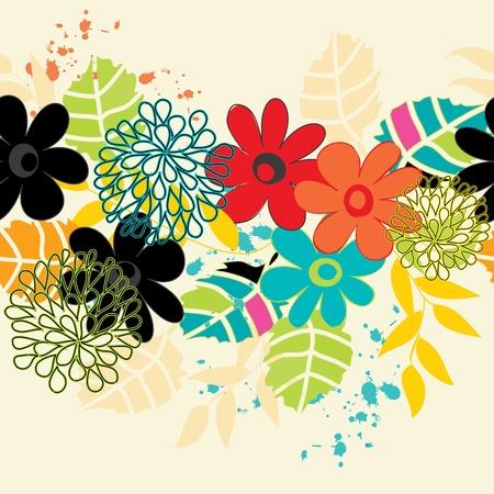 Zusammenfassung horizontale Blume nahtlose Muster Hintergrund