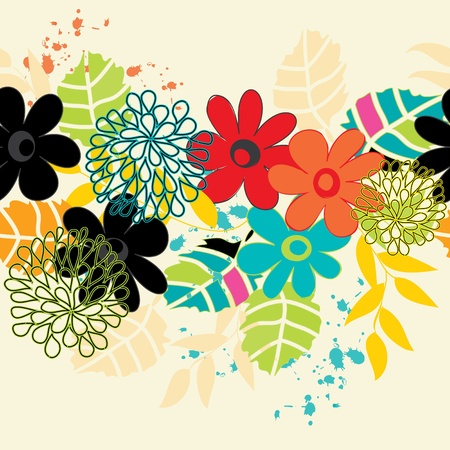 Zusammenfassung horizontale Blume nahtlose Muster Hintergrund Vektorgrafik