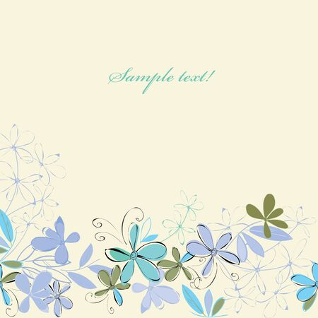 fondle: Abstract blue flower background. Banner. Illustration