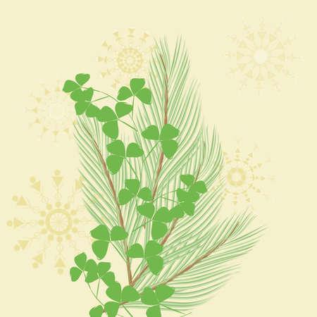 pine branch: Pine branch end foliage background Illustration