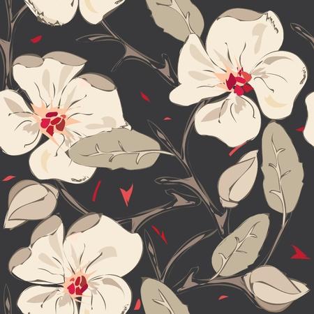 어두워: 추상 꽃 원활한 패턴 배경