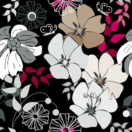 garnets: Abstract flower seamless pattern background