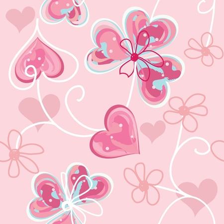 pink swirl: Heart end flower seamless pattern background