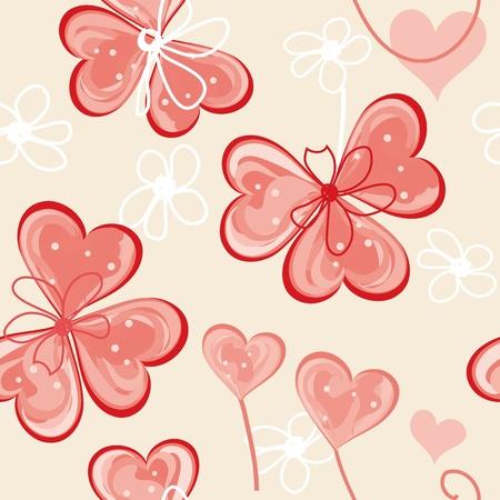 Heart end flower seamless pattern background Vector