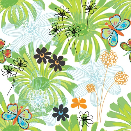 Abstract flower end butterfly seamless pattern background Stock Vector - 12488530