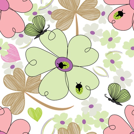 Abstract flower end butterfly seamless pattern background Vector