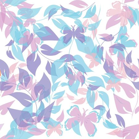 Abstract foliage end butterfly seamless pattern background Vector