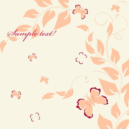 Stylish foliage end butterfly backgrounds Vector
