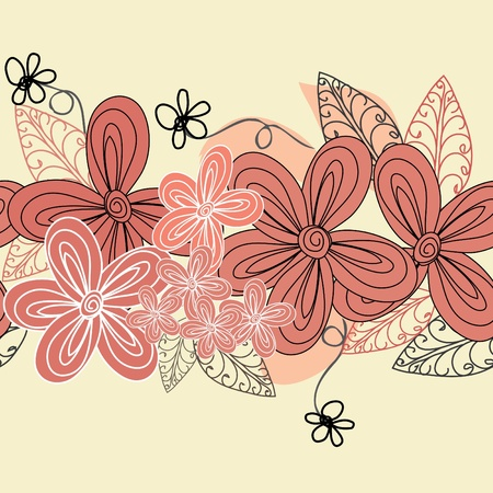 Abstract horizontal flower seamless pattern background Vector