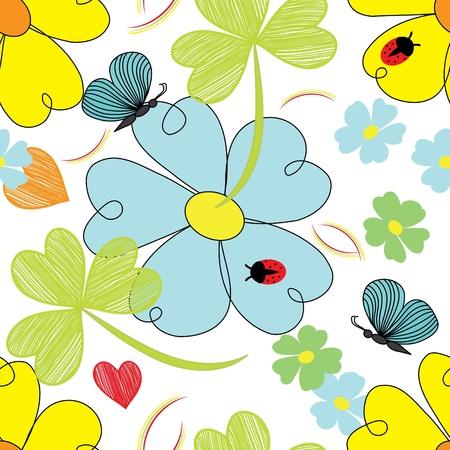 추상 꽃 엔드 나비 원활한 패턴 배경