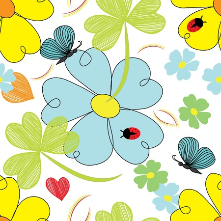 Abstract flower end butterfly seamless pattern background