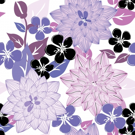 violet flowers: Abstract flower seamless pattern background
