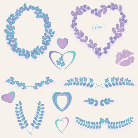 Graphic setof floral heart end valentine Vector