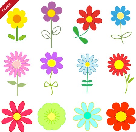 Abstract set  flowers background Vector