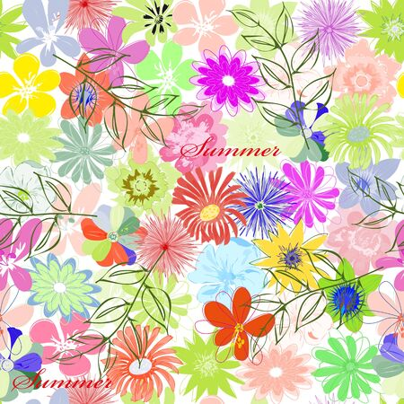 Summer flower seamless pattern background Vector
