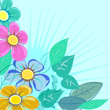 Abstract  flower background. Retro card. Illustration