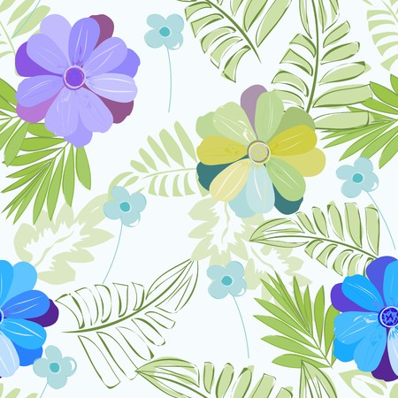 Abstract tropical flowers seamless pattern background