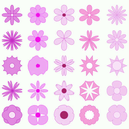 Abstract set  flowers background