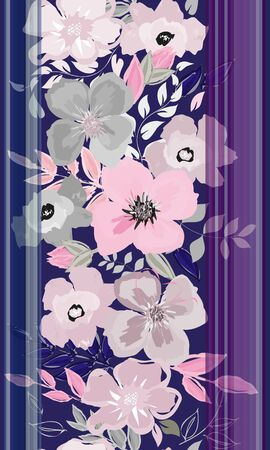 Abstract vertical flower seamless pattern background Illustration
