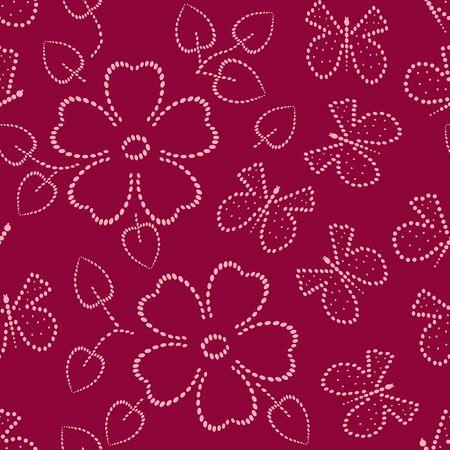 dearness: Butterfly end flower  seamless pattern Illustration