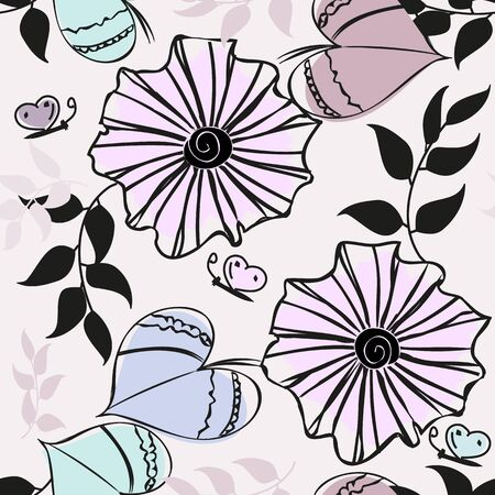 Abstract flower seamless pattern background illustration.
