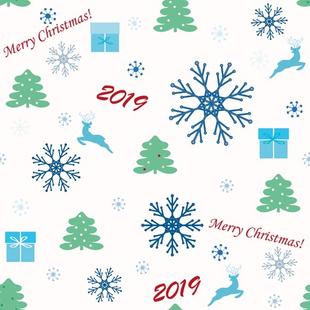 Seamless with a Christmas trees end snowflake.