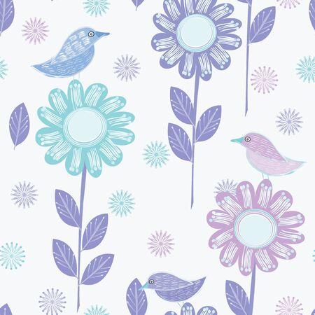 Flowersand birds. Seamless pattern background