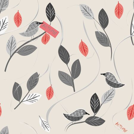 Autumn florals and birds. Seamless pattern background Ilustrace