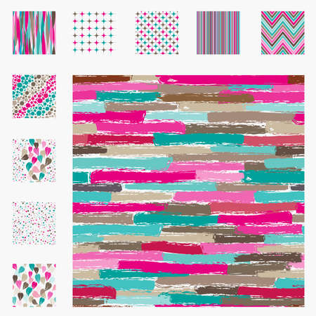 Seamless pattern collection trendy peas