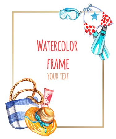 Watercolor frame with marine elements: beach bag, swimsuit, hat, diving mask, flippers with place for your text. Handwork, elements are isolated on a white background. Perfect for postcards, invitations, events, greetings.